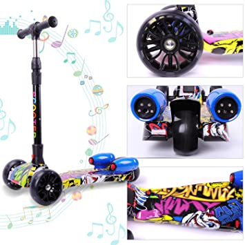 Cool and Fun Patinete Scooter para niños-Diseño Plegable con 3 Ruedas- Música y Vapor-Regalo Bonito (Hipazul)
