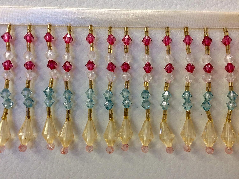 3' Crystal Beaded Fringe Trim CBF-20/2-53 Cream & Fuchsia Rose Lace