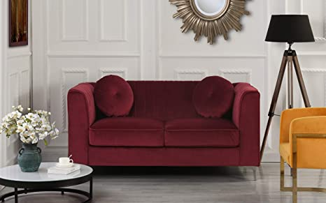 Classic and Traditional Living Room Marilyn Velvet Loveseat with Tufted  Accent Pillows (Red)