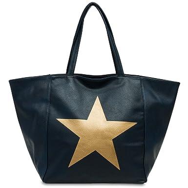 CASPAR TS1017 Damen große XL Handtasche mit goldenem Stern, Farbe:dunkelgrau;Größe:One Size CASPAR Fashion