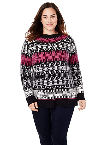 famous brand separation shoes 50-70%off Women's Woman Within Plus Size Fair Isle Knit Pullover Sweater