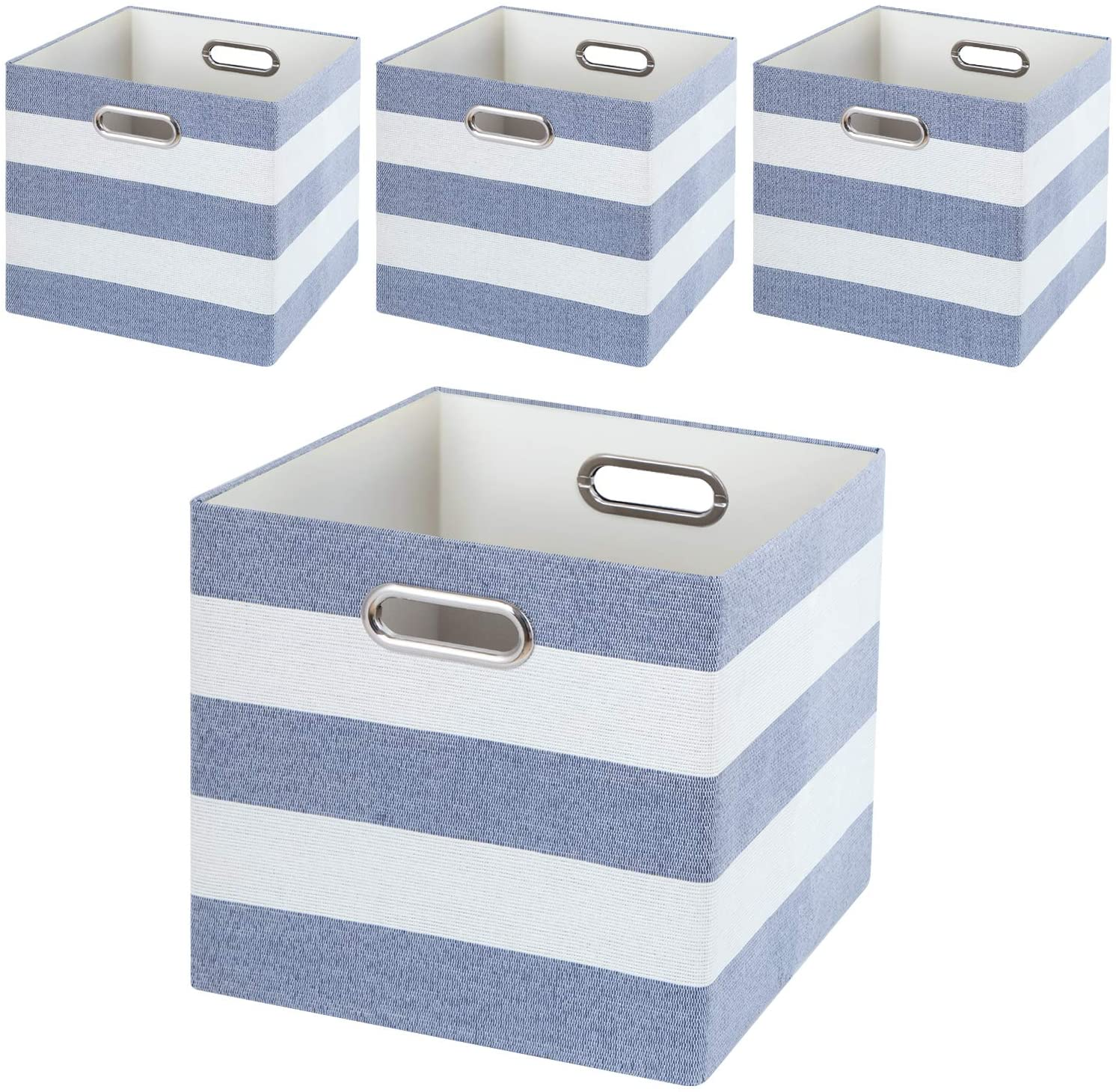 Posprica Storage Basket Bins,11×11 Collapsible Storage Cubes Fabric Drawers for Nurseries,Offices,Closets,Home Décor (4pcs, Blue-White Striped)