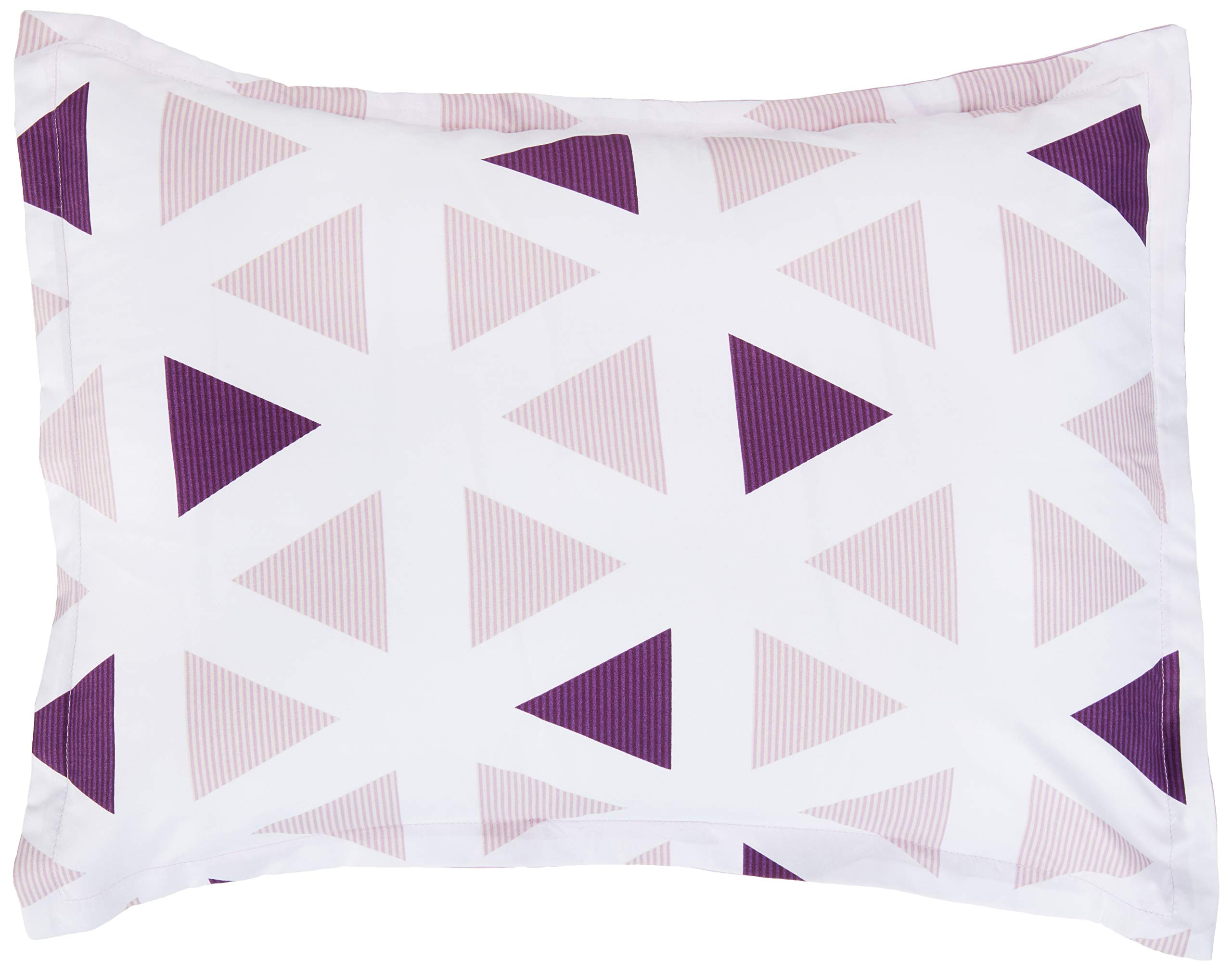 CDM product AmazonBasics Easy-Wash Microfiber Kid's Bed-in-a-Bag Bedding Set - Twin, Purple Triangles small thumbnail image