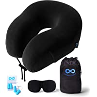 Everlasting Comfort Travel Pillow 100% Pure Memory Foam Neck Pillow with Machine Washable Velour Cover - Airplane Travel Kit with Bag - Includes Eye Masks and Earplugs (Black)