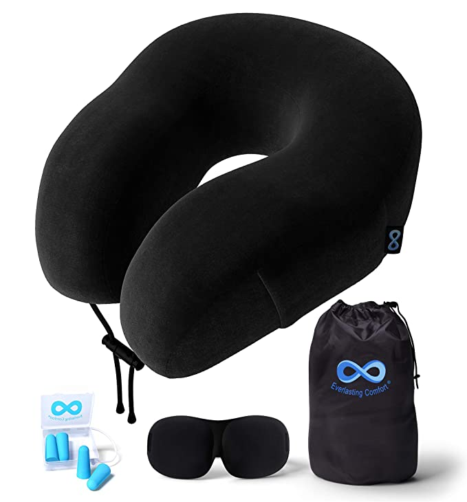 Everlasting Comfort 100% Pure Memory Foam Neck Pillow Airplane Travel Kit with Ultra Plush Velour Cover, Sleep Mask and Earplugs best men's travel accessories