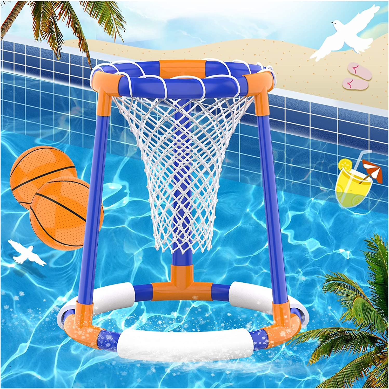 Pool Toys for 3+ Years Old, Pool Basketball Hoop Set for Kids, Floating Water Basketball Game for Swimming Pool, Inflatable Basketball Pool Game for Kids Adults, 2 Balls with a Net and Pump Included