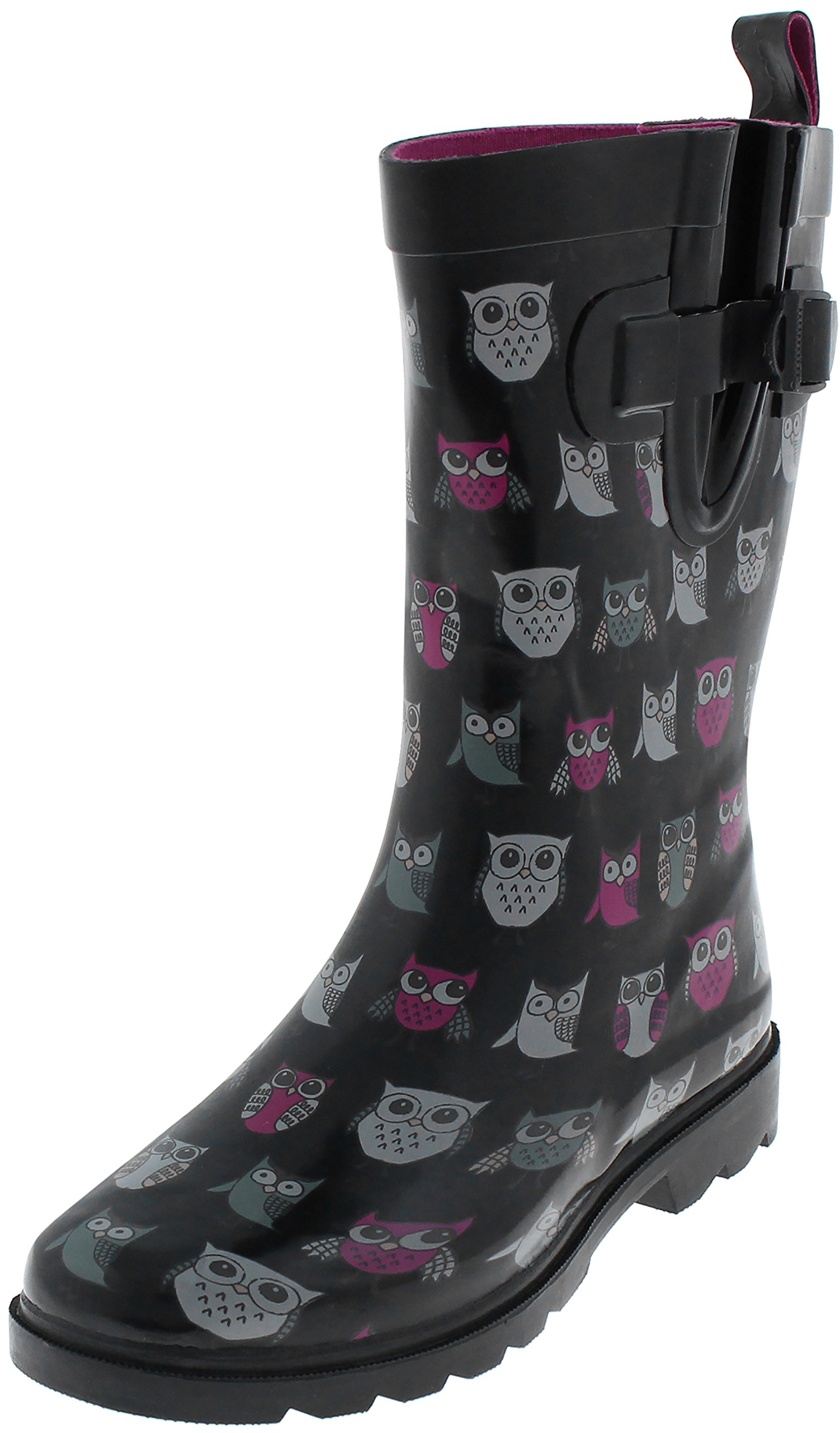 Capelli New York Ladies Sketchy Owls Printed Mid Calf Rubber Rain Boot Black Combo 8