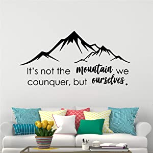 18 x 35 in Mountain Wall Decal - Travel Adventure Camping Rock Climbing Forest Bear Deer Vinyl Sticker - Decoration for Boys Girls Bedroom Office Shop Window - Inspirational Quotes Décor Art MOU14