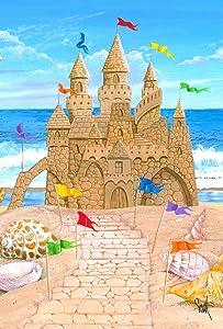 Toland Home Garden Sandy Castle 28 x 40 Inch Decorative Summer Beach Sand Ocean Seashell House Flag