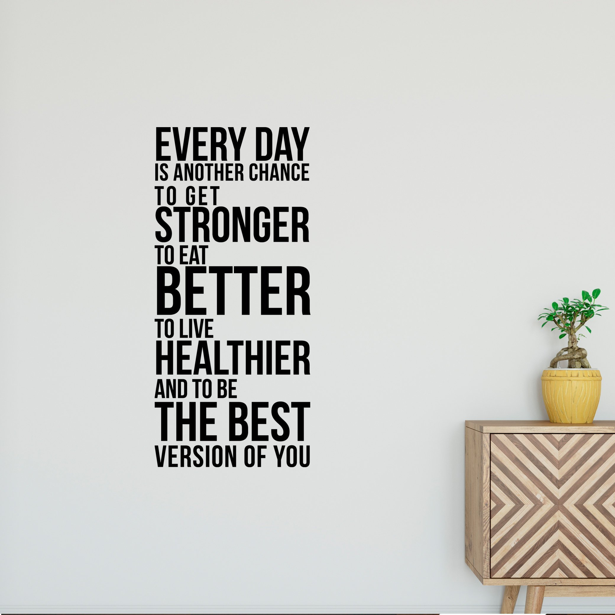 "Every Day is Another Chance. Quote, Wall Sticker, Customizable Vinyl Decal, Healthy, Motivational, Fitness, Self Improvement - Bold(orange-36"")"
