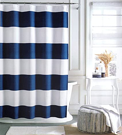 Tommy Hilfiger Cabana Stripe Shower Curtain   Navy Blue And White  72 X 72