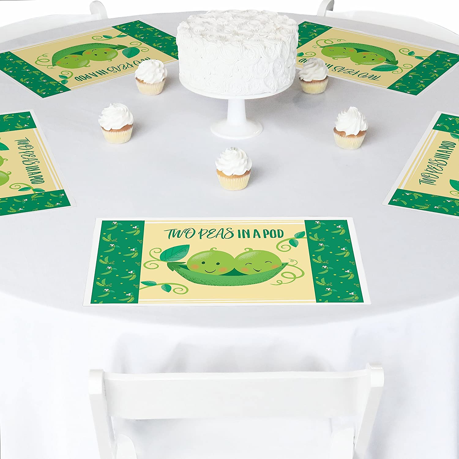 Baby Shower or First Birthday Party Placemats Set of 12 Party Table Decorations Twins Two Peas in a Pod Double The Fun