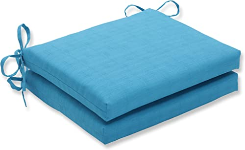 Pillow Perfect Outdoor Indoor Veranda Turquoise Square Corner Seat Cushions, 18.5 in. L X 16 in. W X 3 in. D, Blue, 2 Pack