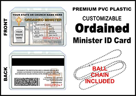 Amazon ordained minister id card custom with your photo and ordained minister id card custom with your photo and information church identification colourmoves