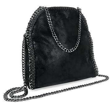 d3913bc5b1ef2 Damen Handtasche Vintage Metallic Look Kette Schwarz Mittel  Amazon ...