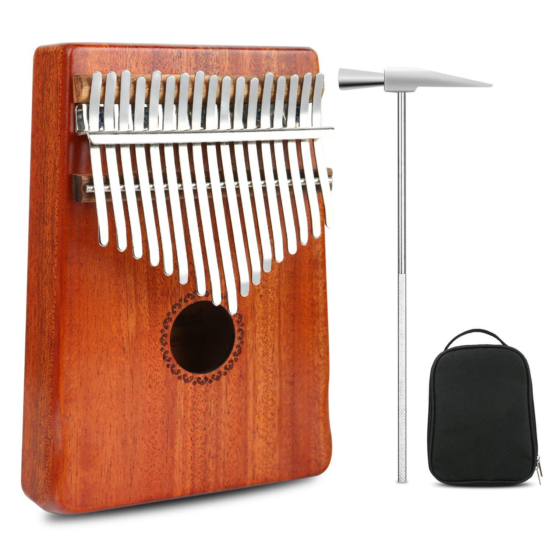 Thumb Piano Kalimba 17 Keys Finger Piano Mbira Likembe Sanza Professional Series Instrument Gift Solid Mahogany Wood with Protable Portection Bag