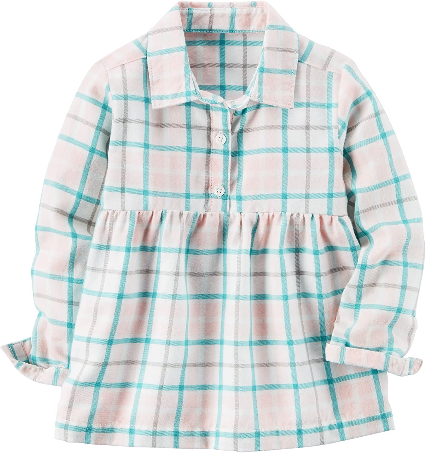 Carters Girls Pink Plaid Babydoll Top 6 Months