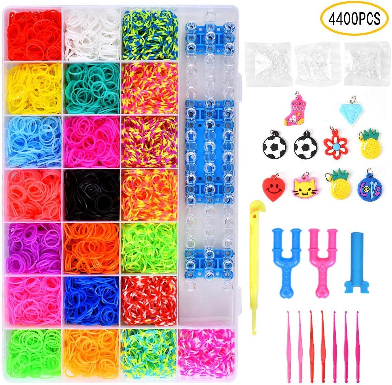HQPDMáquina de Tejer DIY de Banda de Goma con Collar de Pulsera Juguete para niños 22 Colores y Muchos Accesorios pequeños 4400