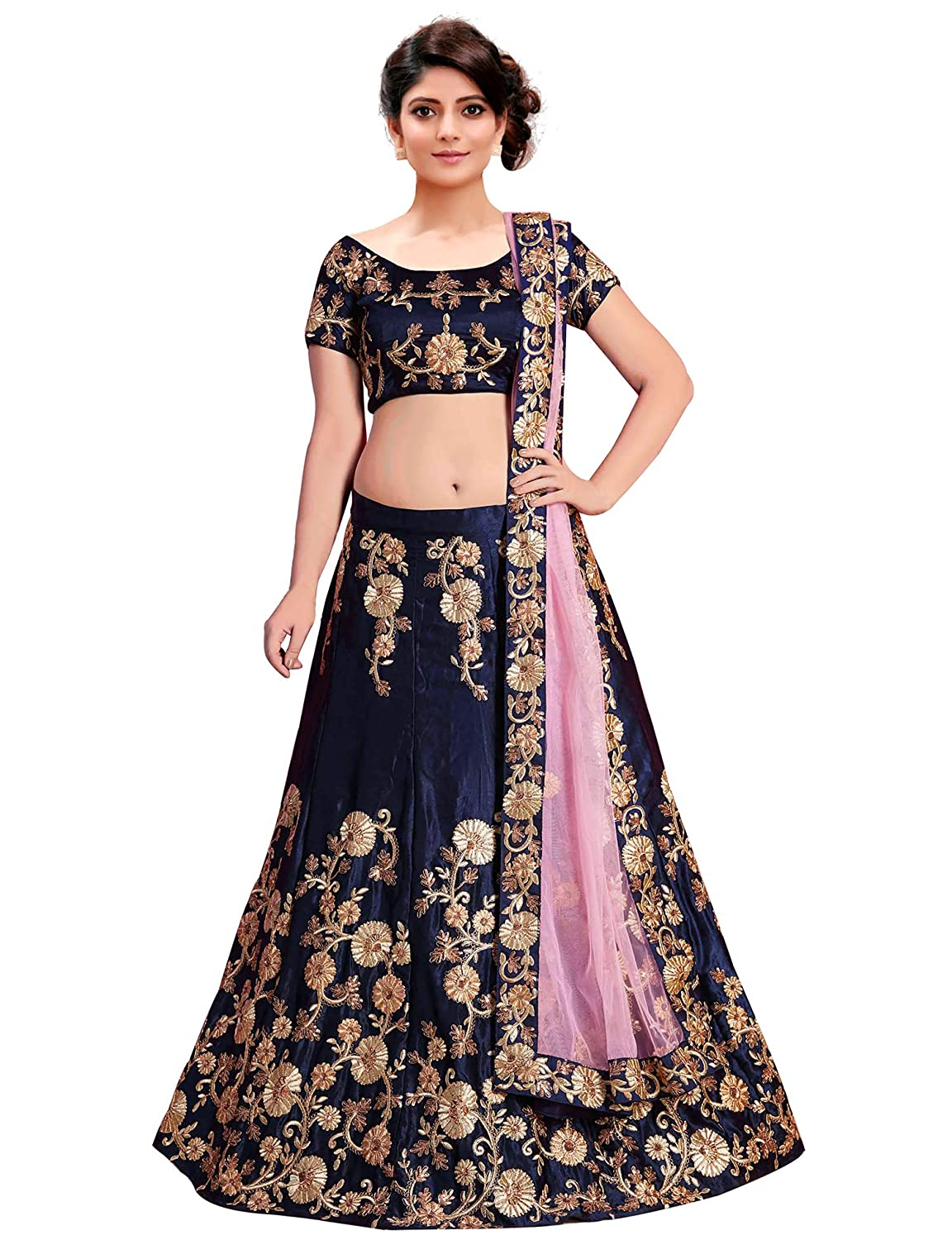 a9eb5d6de6 KEDARFAB Women's Embroidered Taffeta Silk Lehenga Choli with Blouse Piece  (Navy Blue, Free Size): Amazon.in: Clothing & Accessories