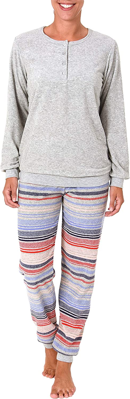 Pyjama auch in Übergrössen 201 93 236 Damen Frottee Schlafanzug mit Bündchen