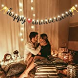 Happy Anniversary Banner Gold and Black Glitter Sign Banner with String Light 8 Flicker Mode, Anniversary Hanging Sign Garlan