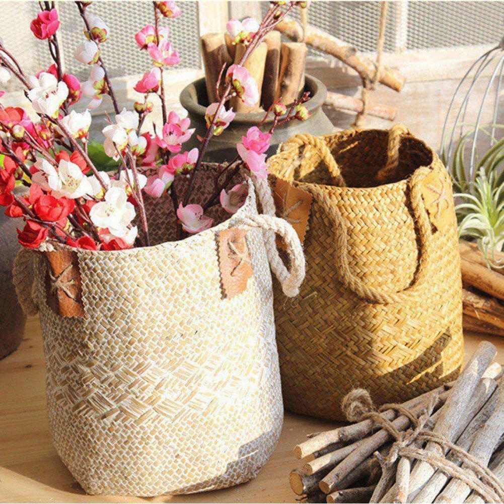 GEZICHTA cestino cestino di vimini paglia naturale con maniglie per stoccaggio, biancheria, picnic, cover, vaso da fiori, vaso, cestino per carta e borsa da spiaggia, Yellow, 16 * 17 * 23cm