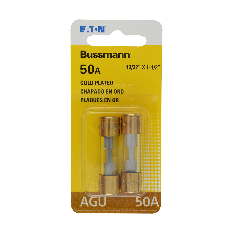 Bussmann (BP/AGU-50GP-RP) Gold Plated 50 Amp Fast Acting AGU Fuse, (Pack of 2)