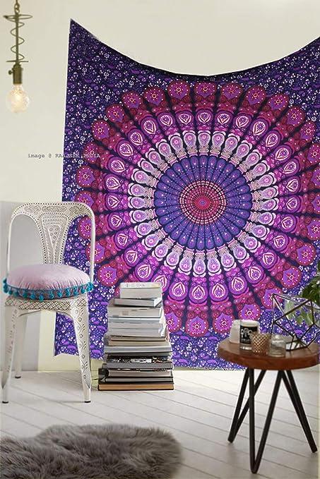 Raajsee - Tapiz de algodón indio, diseño de mandala, color morado: Amazon.es: Hogar