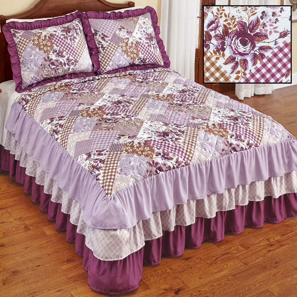 Collections Etc Lovely Evelyn Patchwork Style Quilted Ruffled Bedspread with 3 Tiers of Luxurious Ruffles Along The Sides Full