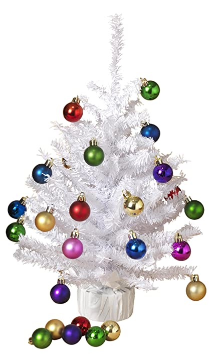 small tabletop christmas tree with ornaments holiday decoration white