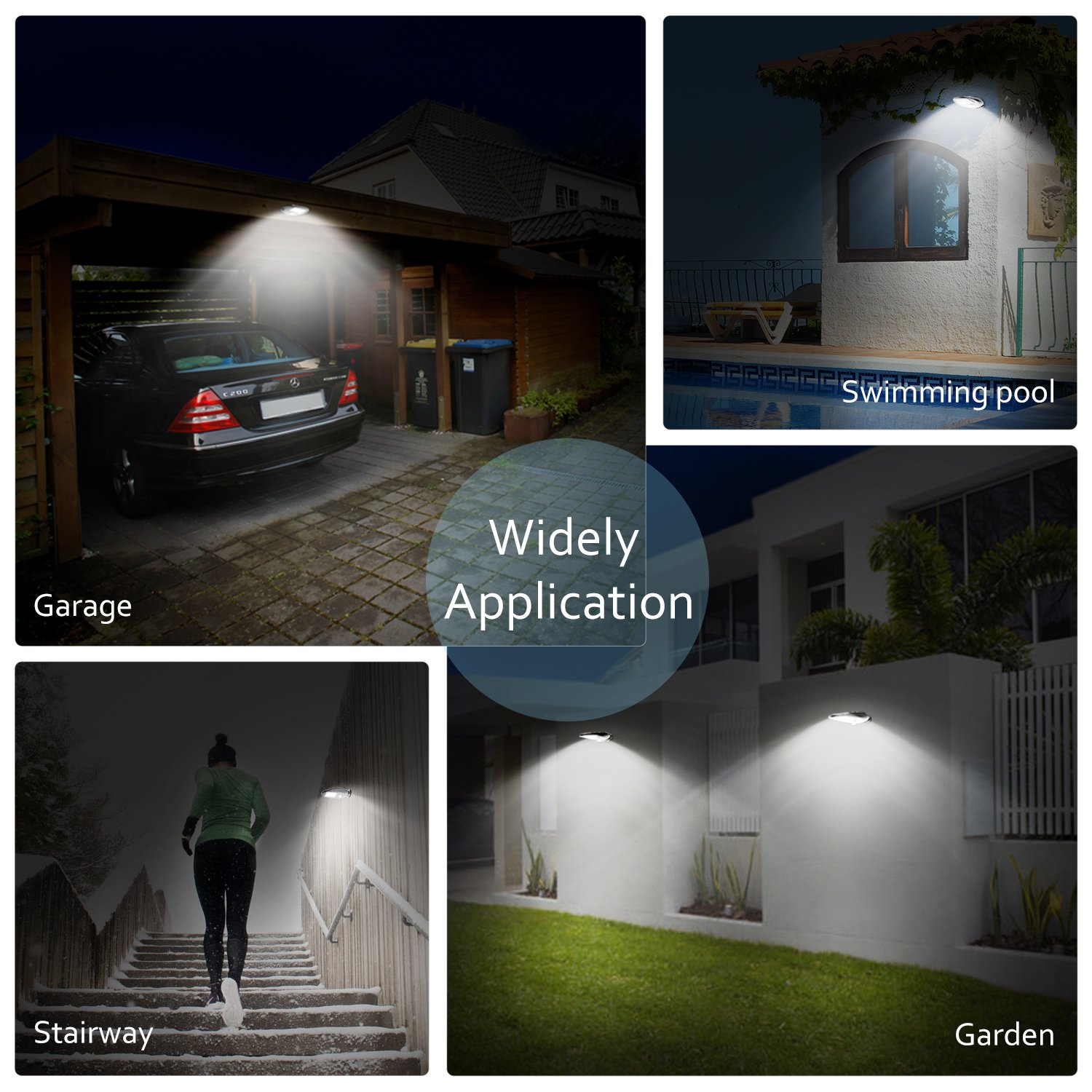 4-Pack Garage D03-1693N-02 Back Yard Driveway Fence Solar Lights Outdoor Stairway OxyLED 30 LEDs Super Bright Motion Sensor Solar Light Wireless Waterproof Security Lights Wall Lamp for Front Door