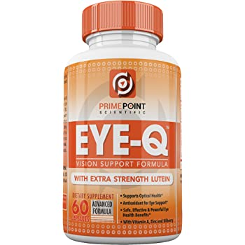 Eye-Q Powerful Vision Support Advanced Formula with: Extra Strength Lutein, Bilberry, Vitamin A and Zinc, Best Support for Retina and Macula with Vitamins ...
