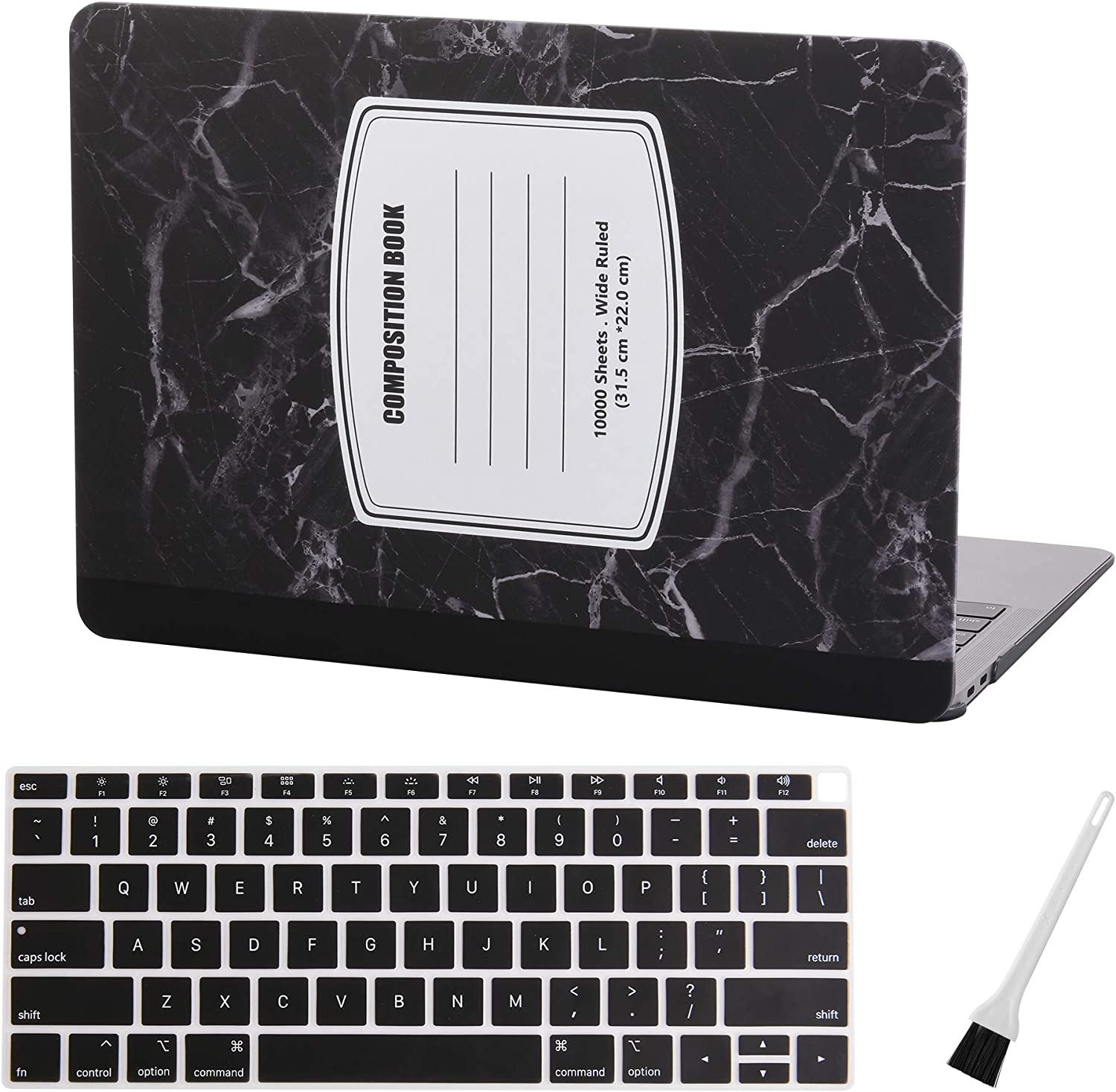 MacBook air 13 Inch Case A1932 MacBook Case Cover MacBook Air 13 Inch Keyboard Cover (2018 2019, Touch ID) Laptop Plastic Hard Cover MacBook Air Case with Dust Brush (Marble Notebook-Black)