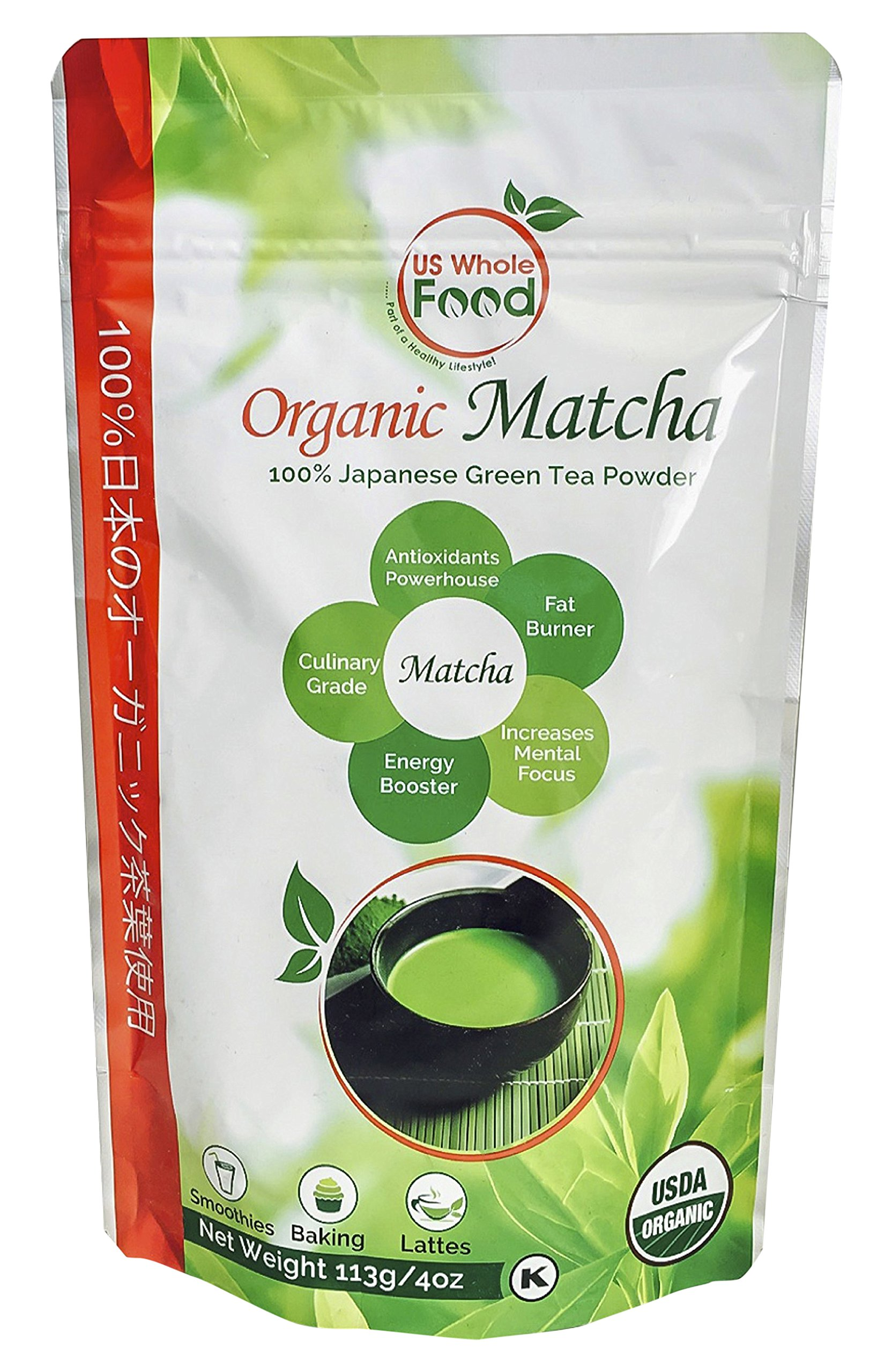 US Whole Food Premium Japanese Matcha Green Tea Powder,4 Ounce,100% USDA Organic by US Whole Food