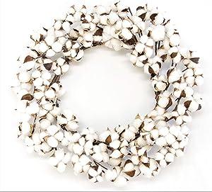 "Silvercloud Trading Co. Real Cotton Wreath 18""-28"" - Adjustable Stems - Farmhouse Decor - Wedding Centerpiece White"