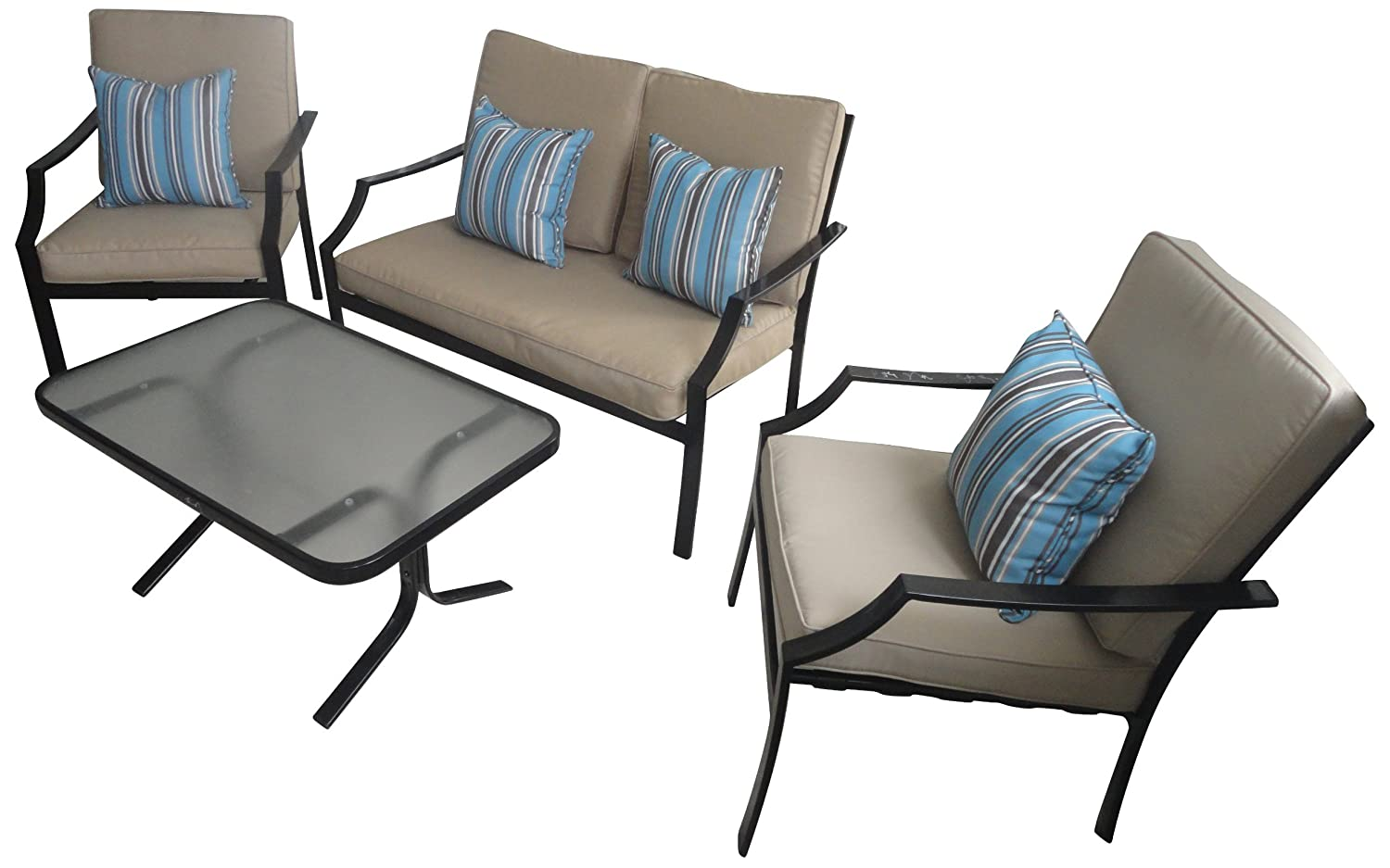 amazoncom strathwood brentwood 4piece allweather furniture set outdoor and patio furniture sets patio lawn u0026 garden - Cheap Patio Furniture Sets