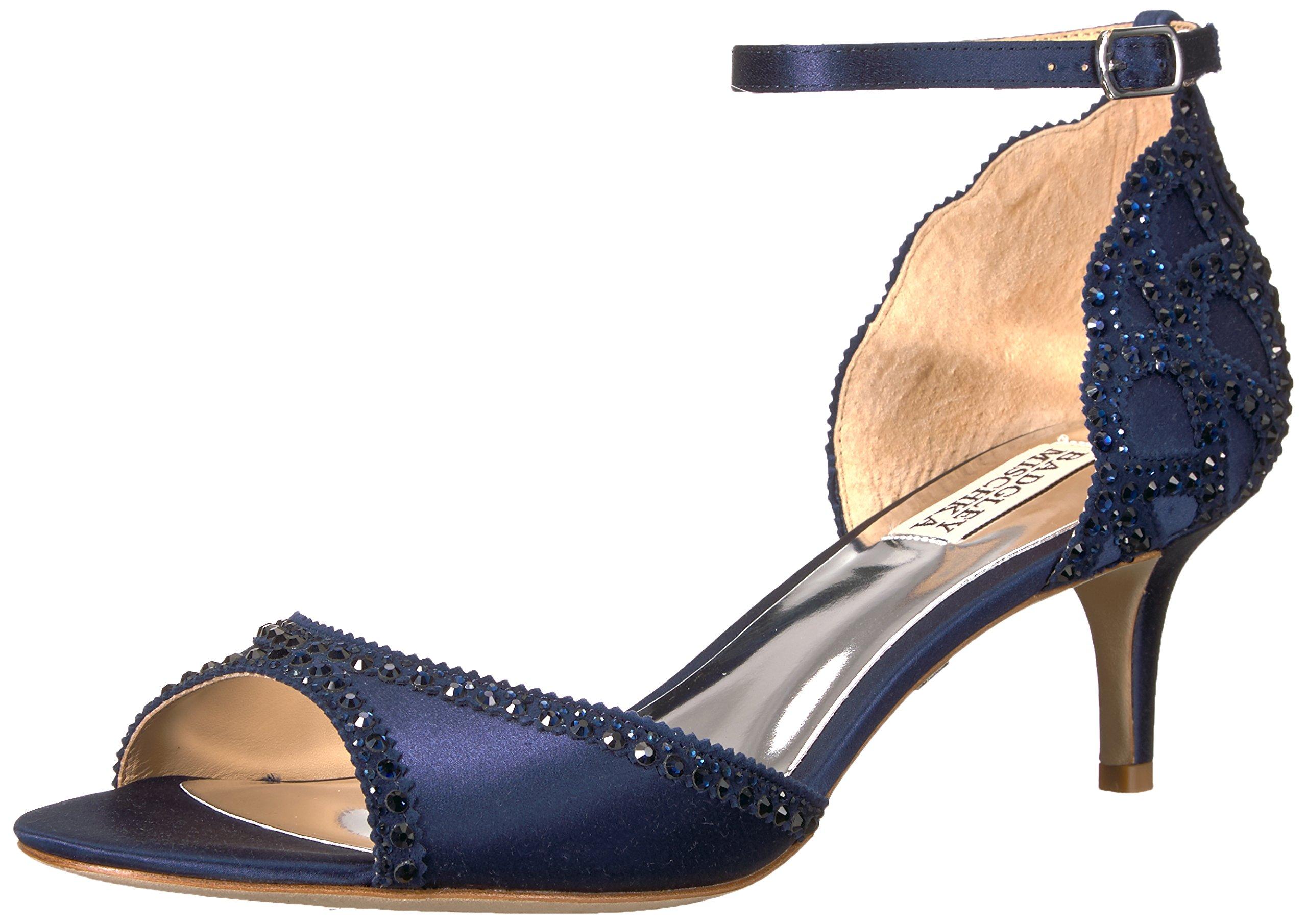 Badgley Mischka Women's Gillian Heeled Sandal, Midnight, 8.5 M US