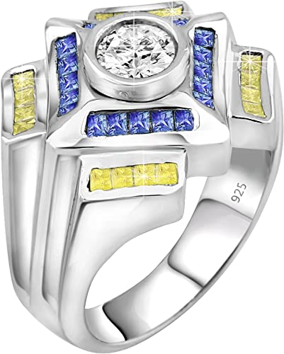 Men/'s Sterling Silver .925 Designer Ring Featuring a 1.75 Carat White CZ Stones