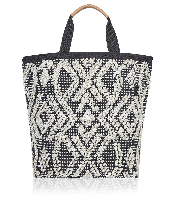 Accessorize Black & White Bobble Shopper Bag - womens