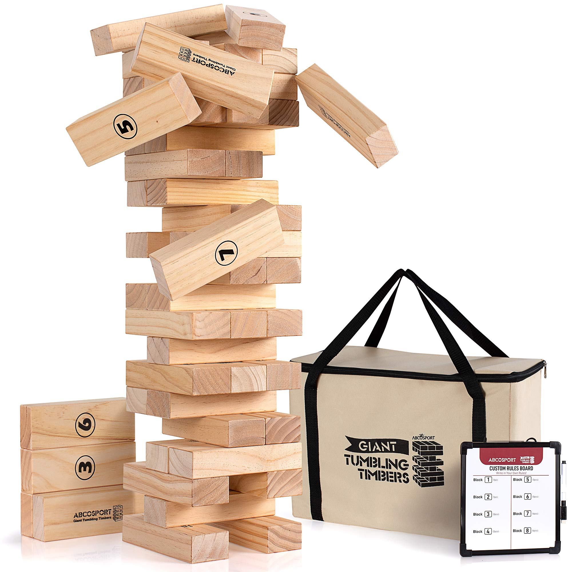 Giant Tumbling Timbers Tower Game - 56 Pieces Jumbo Wooden Blocks - Floor, Outdoor, Backyard and Lawn Games for Kids and Adults - Quality Pine Wood - Rounded Edge Blocks - Includes Carry Bag and Score by Abco Tech