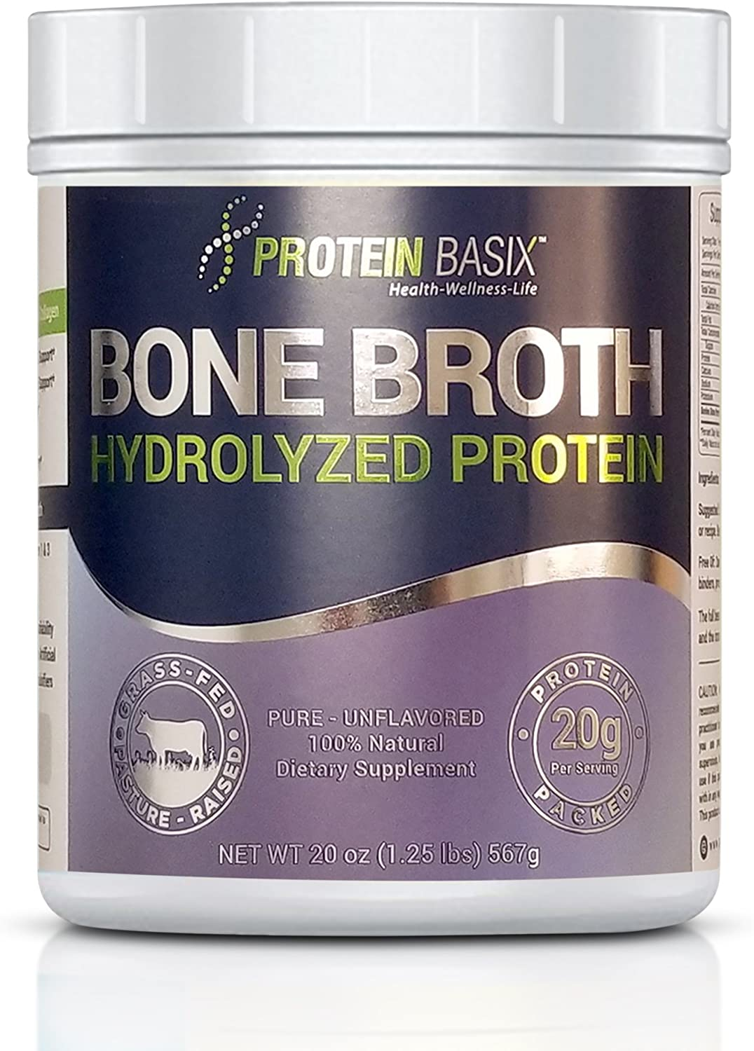 Bone Broth Protein Powder, Packed with 22.25g of Pure Premium Collagen Peptides Per Serving, 20oz. Grass Fed, Pasture Raised, Paleo Keto Friendly- No additives or Flavorings, 20oz.