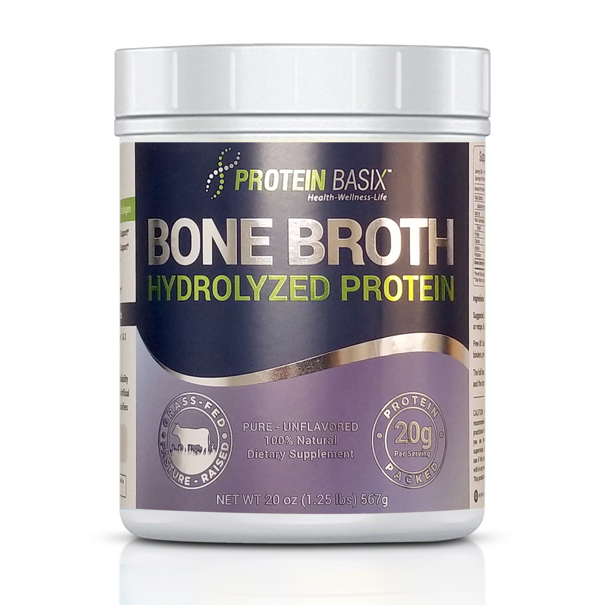 Bone Broth Protein Powder, Packed with 22.25g of Pure Premium Collagen Peptides Per Serving, 20oz. Grass Fed, Pasture Raised, Paleo & Keto Friendly- No additives or Flavorings, 20oz. by Protein Basix