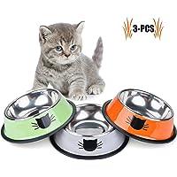 Legendog Bol Chats, 3 Pcs Bols de Chat Imprimé, Chat en Acier Inoxydable Antidérapant Canin Chat, Bol de Nourriture pour Chats Chat