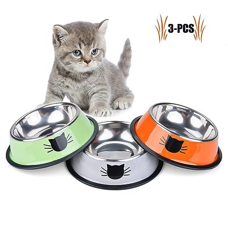 Legendog Cuencos para Gatos, 3 Piezas Cuencos Antideslizantes de Acero Inoxidable Comida Cuencos para Gatos