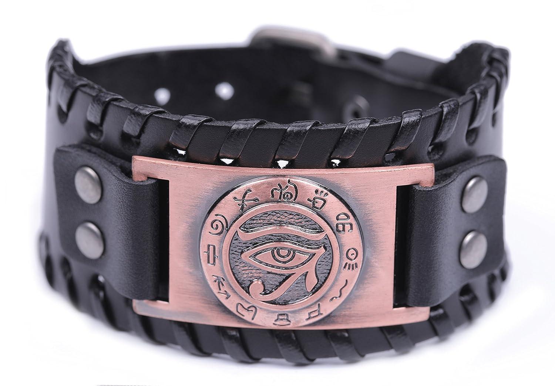fishhook The Eye of Horus Wedjat Eye Hebrew Letter Talisman for Health and Happiness Bangle Leather Bracelet