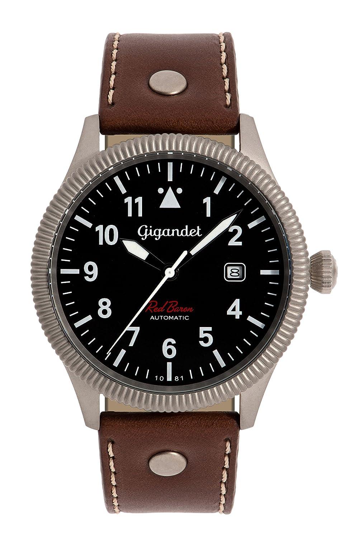 Gigandet Automatik Herren-Armbanduhr Red Baron I Fliegeruhr Uhr Datum Analog Lederarmband Braun Schwarz G8-003
