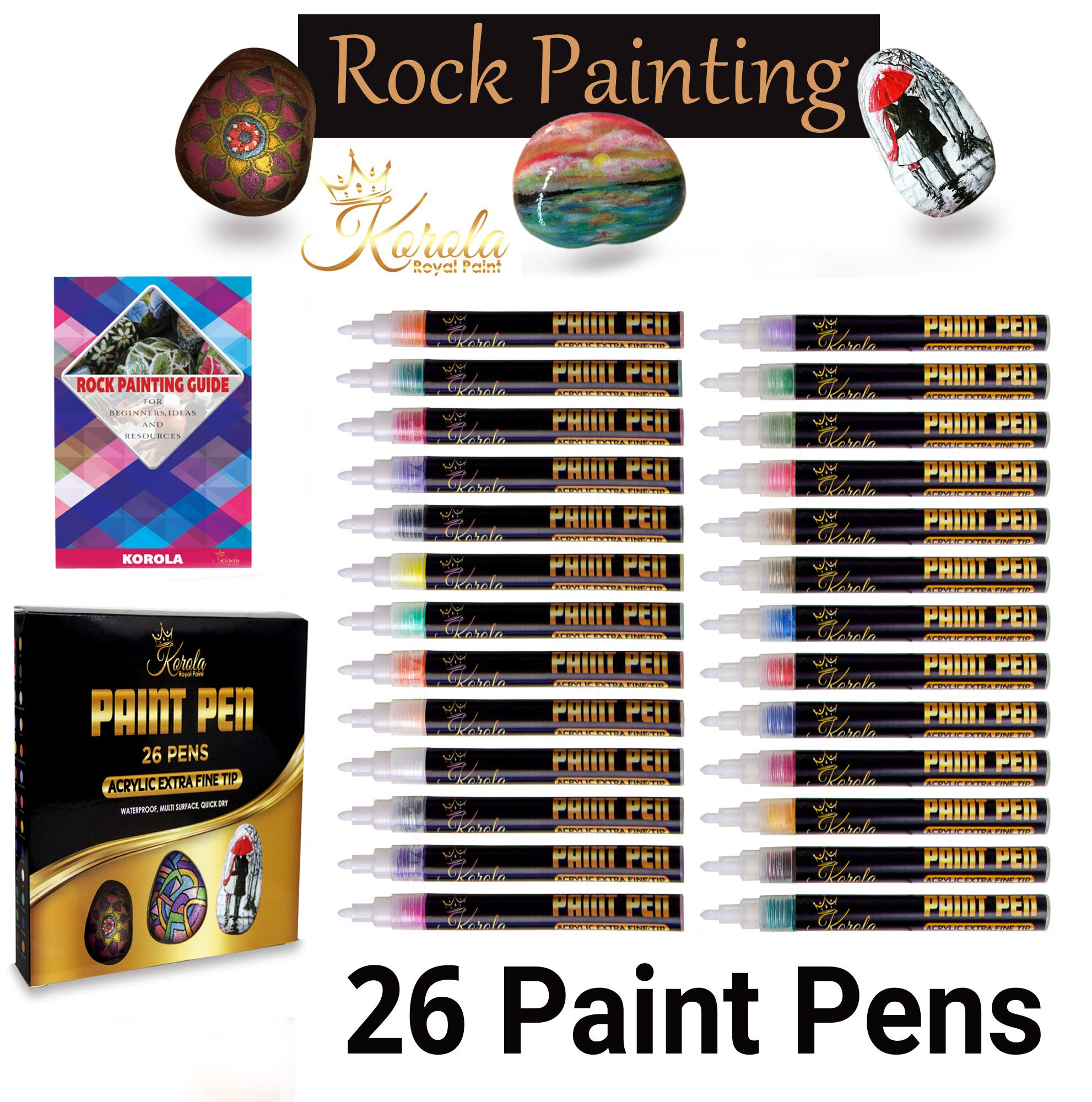 Set of 26 Acrylic Paint Pens Markers for Glass, Rock Painting, Ceramic, Leather, Wood, Metal, Canvas Point. Water Based Extra Fine Point Opaque Ink, Vibrant Colors for Must Multi Surfaces by Korola