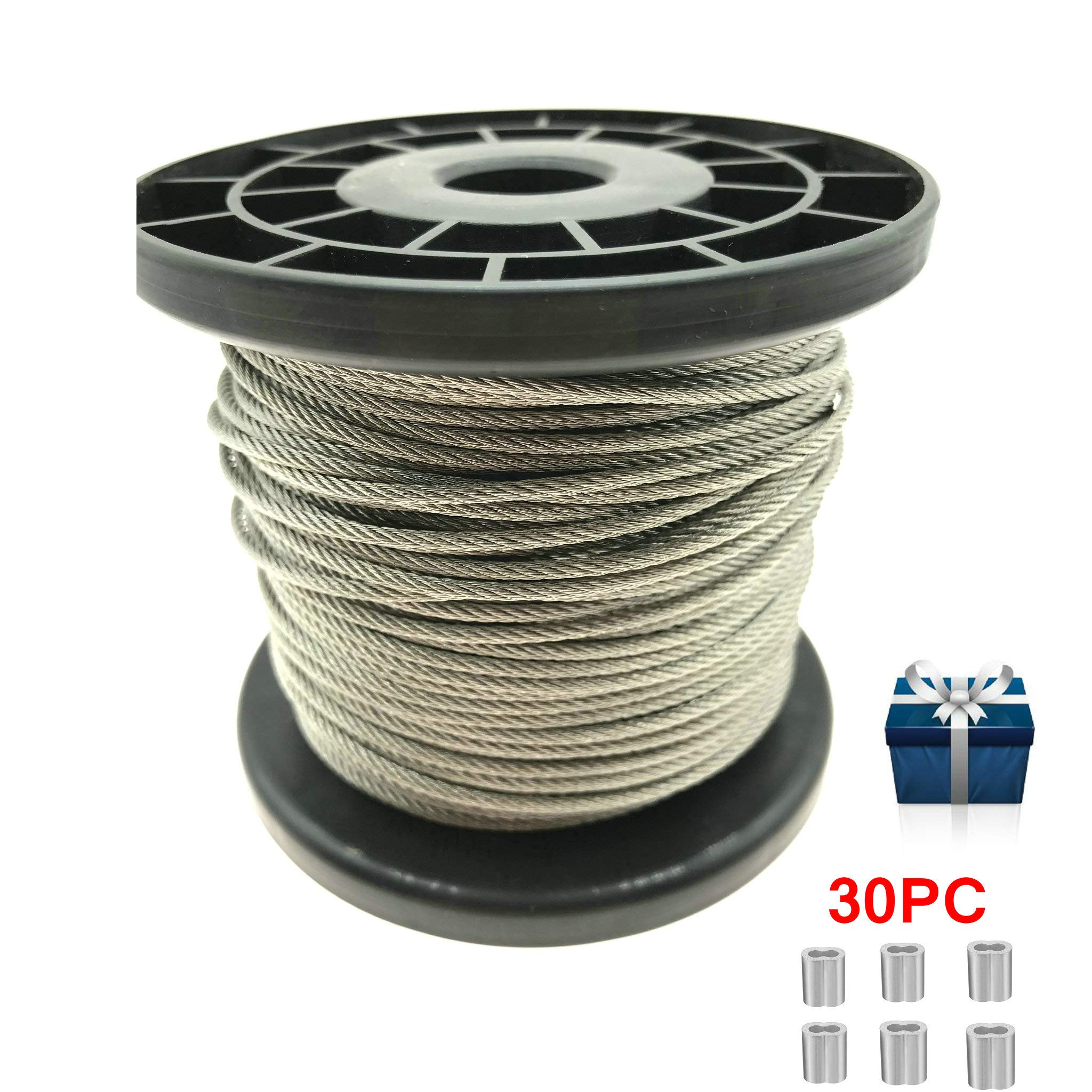 1/12'' 164 FT 304 Stainless Steel Wire Rope Aircraft Cable With 30 PCS Aluminum Crimping Loop 780 Lb Breaking Strength for Deck Cable Railing Light Guide Wire by Yountiger