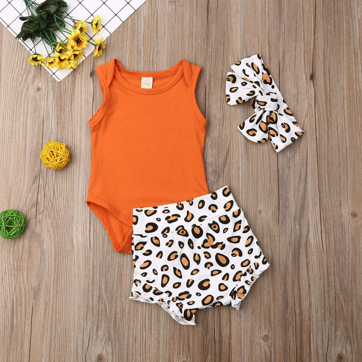 Newborn Infant Baby Girls Leopard Outfits Ruffle Romper Bodysuit One-Pieces Jumpsuit Footed Pajamas Clothes