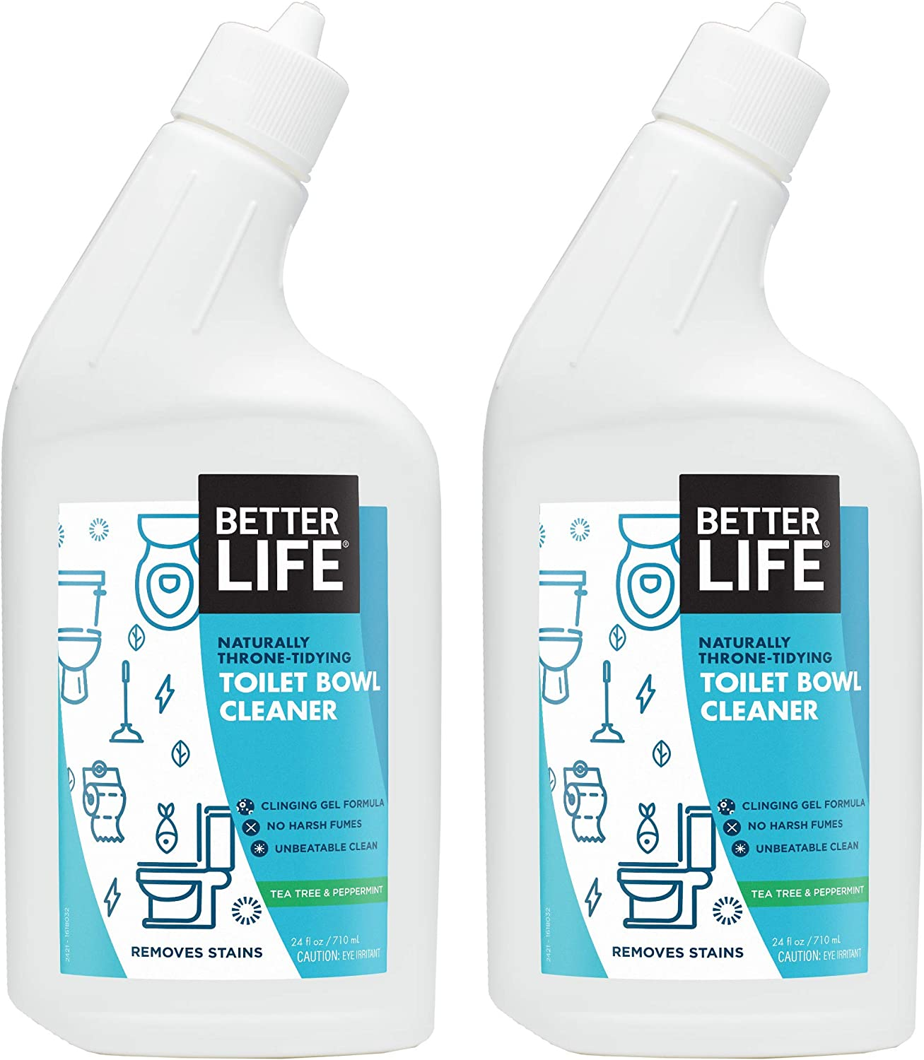 Better Life Natural Toilet Bowl Cleaner, 24 Ounce (Pack of 2) Tea Tree & Peppermint Scent: Health & Personal Care